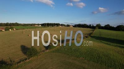 Rural Landscape With A Mowed Meadow, Alvignac In Lot, France, Viewed From Drone