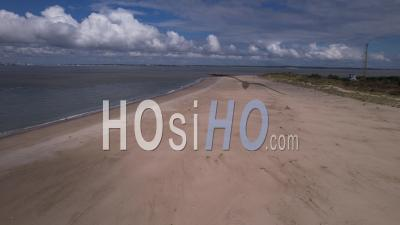 Deserted Beach And Ocean Near Pointe De Grave, Gironde, France, Viewed From Drone