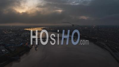 Establishing Aerial View Shot Of Bordeaux Fr, World Capital Of Wine, Nouvelle-Aquitaine, France - Video Drone Footage