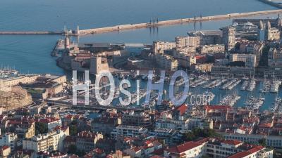 Establishing Aerial View Shot Of Marseille Fr, Bouches-Du-Rhone, Provence-Alpes-Cote D'azur, France - Video Drone Footage