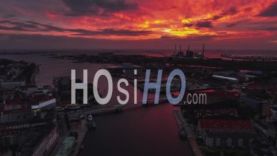 Stunning Sunest, Establishing Aerial View Shot Of Copenhagen, Capital Of The North, Denmark - Video Drone Footage