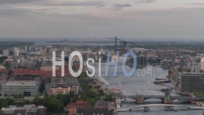 Establishing Aerial View Shot Of Copenhagen, Capital Of The North, Denmark, Overcast - Video Drone Footage