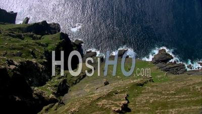 Aerial Footage Of Cliffs, Galicia, Filmed By Helicopter.