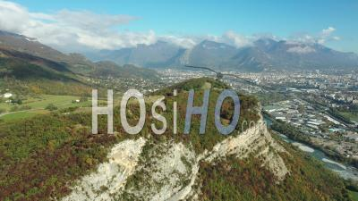 Fort Of Comboire Overlooking The River Drac Near City Of Grenoble, France, Drone Point Of View