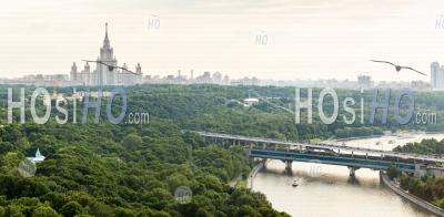 Panorama Of Sparrow Hills Or Vorobyovy Gory, Moscow State University, Moscow River And Luzhniki Bridge. Moscow, Russia