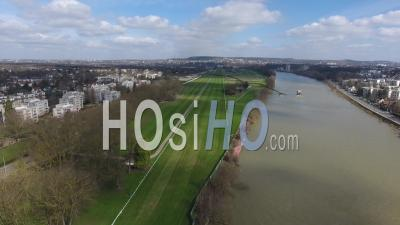 Maisons-Laffitte City And Hippodrome, Viewed By Drone
