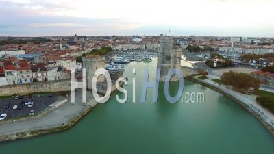 City Of La Rochelle From The Marina - Video Drone Footage