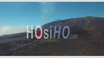 Eruption Of Piton De La Fournaise - Video Drone Footage