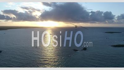 Sunset On The Ocean, Brittany - Video Drone Footage