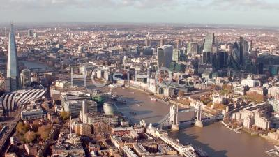 City Of London, River Thames, Tower Bridge And Tower Of London, Seen From Helicopter