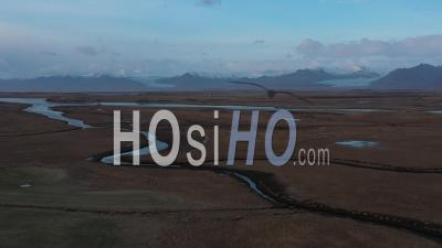 Lake And River Along South Coast Of Iceland, In Winter, Iceland - Video Drone Footage