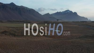 Roads Along South Coast Of Iceland, In Winter, Iceland, Iceland - Video Drone Footage