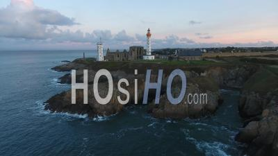 Lighthouse On Saint-Mathieu Punta, Viewed By Drone