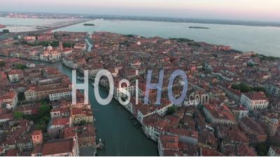 Panoramic View Of Venice At Sunset - Video Drone Footage