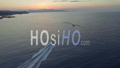 Motorboat At Cap De Creus, Followed By Drone.
