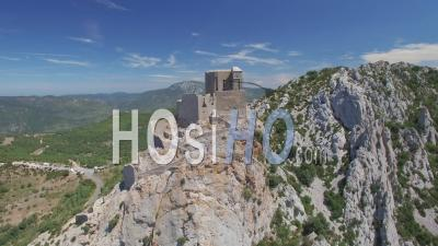 Cathar Castle Queribus  Seen By Drone