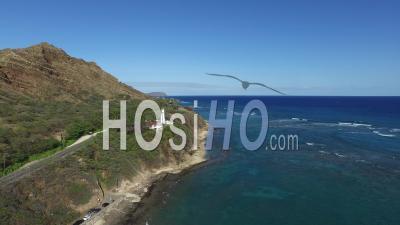 Diamond Head, Lighthouse, Honolulu, Oahu, Hawaii - Video Drone Footage