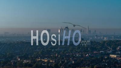 London Skyline, London In Smog, By Drone