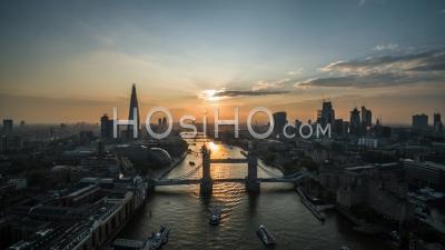 Aerial View Of Tower Bridge, London Skyline, Shard, The City Of London, United Kingdom
