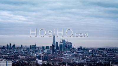 Londres Skyline, City Of London, Journée Nuageuse, Par Drone