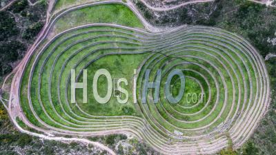 Moray, Inca Laboratory, Inca Ruins, Archeological Site, Near Mar Video Drone Footage