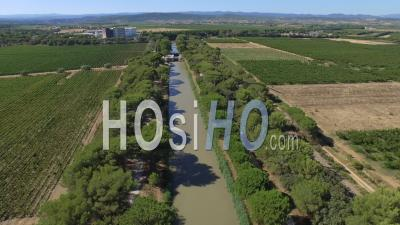 Junction Canal Between The Locks Of Cease And Truilh Video Drone Footage
