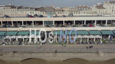 Aerial View Of Quai De Bordeaux, Hangar 14, Congress, Bordeaux And The Garonne River - Drone Point Of View