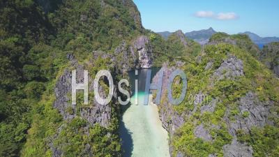 Big Lagoon In El Nido, Palawan, Philippines - Drone Point Of View