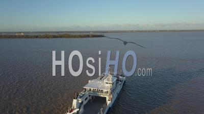Aerial View, Maritime Transport, Blaye Pier, Boat, Ferry, Blaye Citadel, Gironde, France - Video Drone Footage