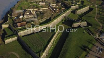Aerial View, Blaye Citadel, Unesco World Heritage Site In Gironde, France - Video Drone Footage