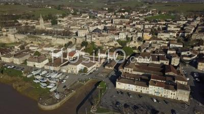 Aerial View, Bourg Sur Gironde, Site In Gironde, Aquitaine - Video Drone Footage