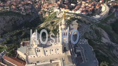 Notre-Dame-De-La-Garde Basilica Church, Marseille, France – Aerial Video Drone Footage