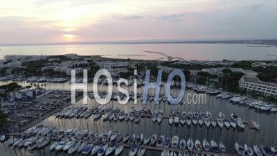 Aerial View Of Port Camargue Filmed By Drone, Le Grau Du Roi, France